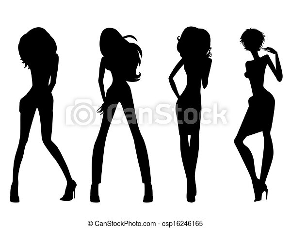 Clip Art Vector of Fashion model silhouettes - Set of four black ...