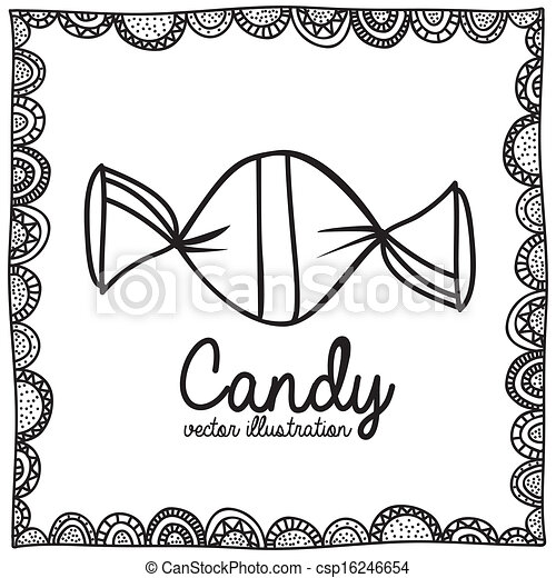 Clipart Vector Of Candy Drawing Over White Background