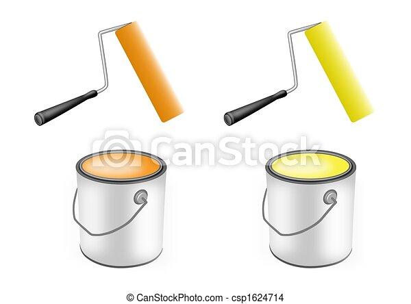Pintura, rodillos, Pintura, latas - csp1624714