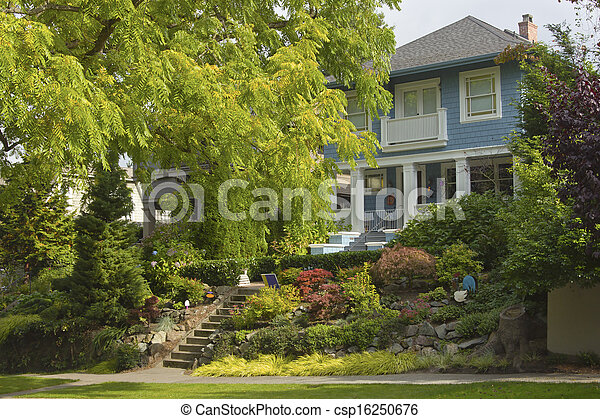 Large tree and house residential area Seattle WA. - csp16250676
