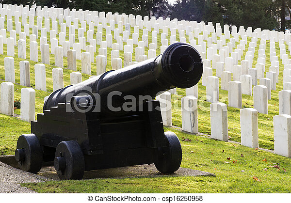 Large Military Cannon Stands Enlisted Men Cemetery Headstones  - csp16250958