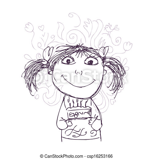 Funny girl sketch with birthday cake for your design - csp16253166