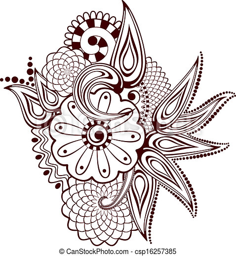 Vector of Paisley flowers mehndi design-abstract, EPS8 - vector ...