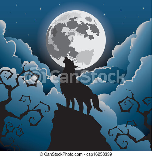 Wolf Moon Drawing Wolf Howling at The Moon
