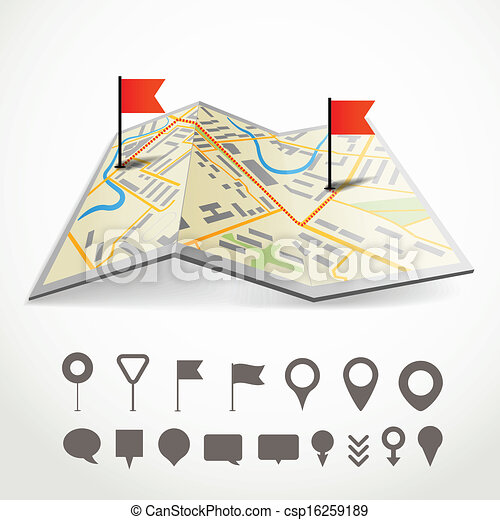 Folded abstract city map with the route and collection of different pins - csp16259189
