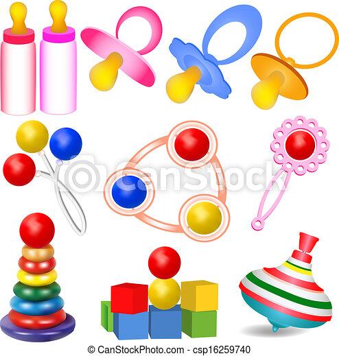 Vecteur - ensemble, enfants, mésanges, jouets, yul, cliquetis
