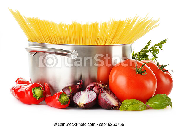 Stainless pot with spaghetti and variety of raw vegetables - csp16260756