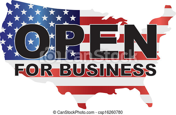 Government Shutdown USA Map Open For Business - csp16260780