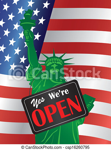 Government Shutdown We Are Open Sign with US Flag - csp16260795