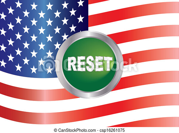Government Shutdown Reset Button with US Flag Illustration - csp16261075
