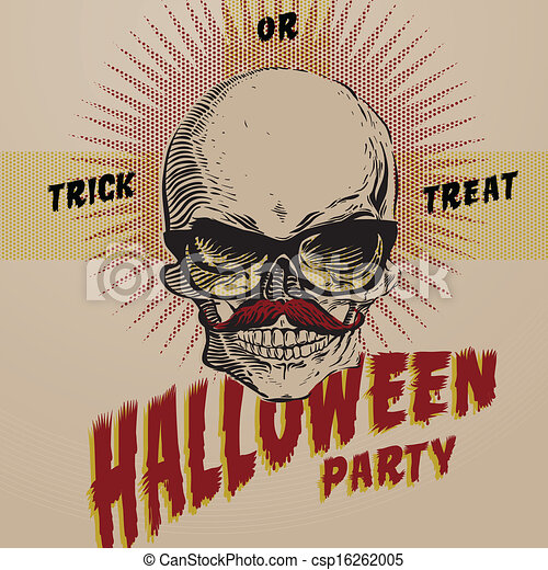 Vector Clipart of Halloween Party design template for card ...