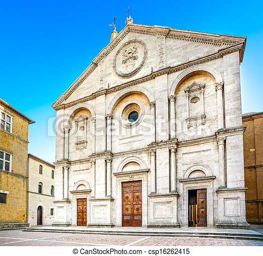 Pienza, Duomo Cathedral church facade in Tuscany, Italy - csp16262415