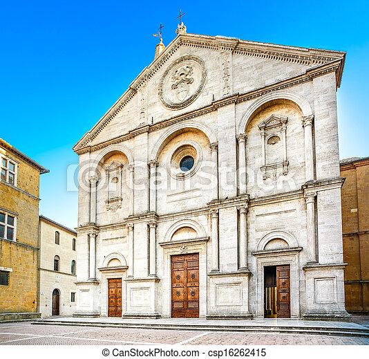Pienza, Duomo Cathedral church facade in Tuscany, Italy - csp16262415