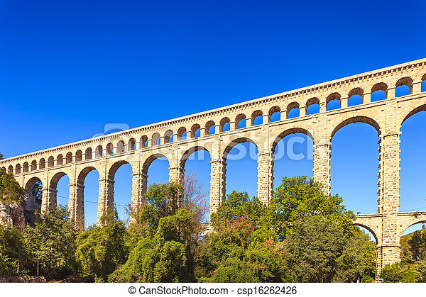Roquefavour historic old aqueduct landmark in Provence, France. - csp16262426