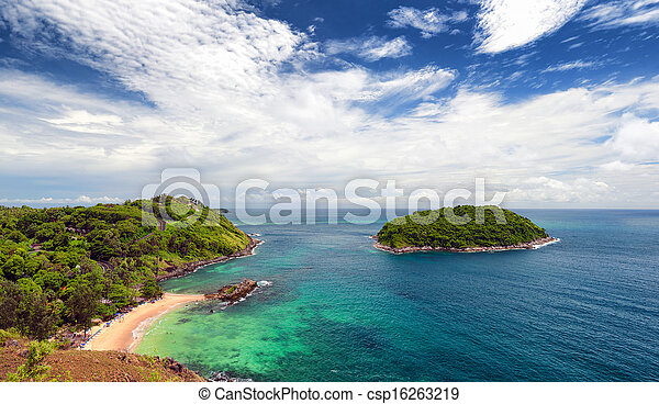 Phuket beach, tropical island and sea view. Thailand summer nature. Ya Nui near Promthep Cape - csp16263219