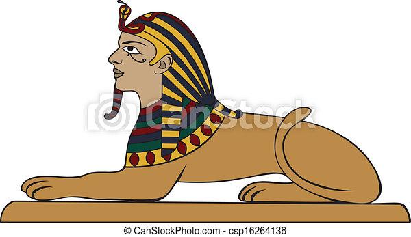 Vectores de egipcio, esfinge, coloreado, Variante csp16264138 ...