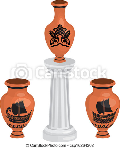 antique greek vases set with ships  - csp16264302