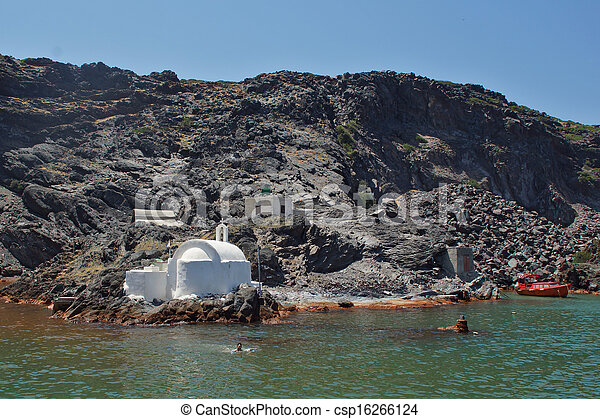 Church to hot volcanic springs - csp16266124