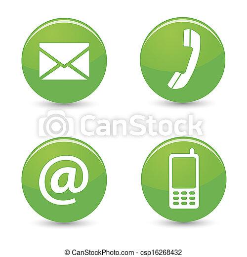 ícones correia fotorreceptora, nós, botões, contato, verde - csp16268432