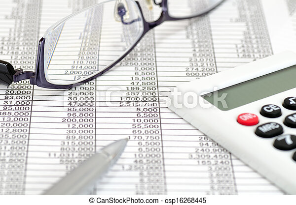 Calculator and ballpoint and glasses and Accounting documents - csp16268445