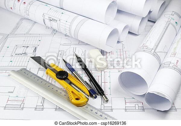 redskapen, arkitektur, Planer - csp16269136