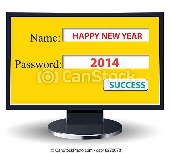 happy new year 2014 retro with comp - csp16270078