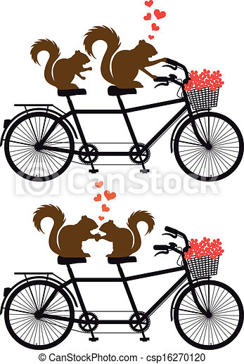 squirrels on bicycle, vector - csp16270120