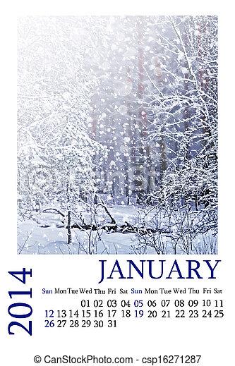 Calendar 2014. January. Winter landscape. - csp16271287