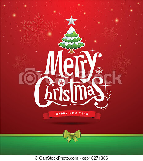 Merry Christmas lettering design - csp16271306
