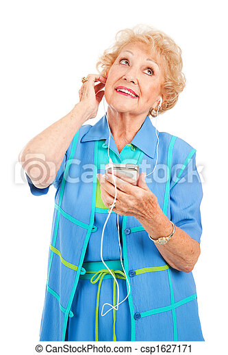 Senior Woman Enjoying Tunes - csp1627171