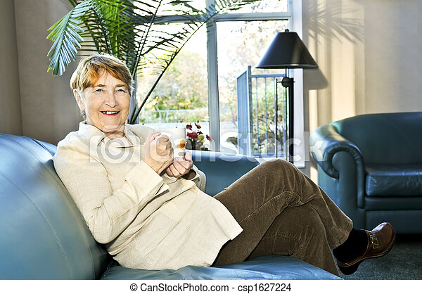 Elderly woman relaxing - csp1627224
