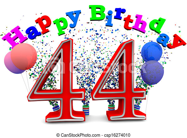 Clipart Of Happy 44th Birthday Csp16274010 Search Clip