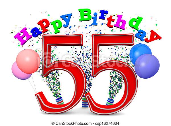 Stock Illustration Of Happy 55th Birthday Csp16274604