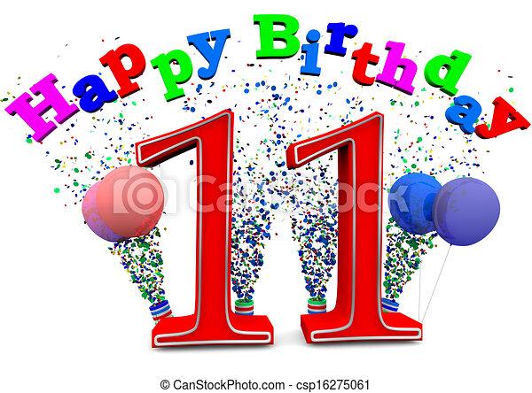 Stock Illustration Of Happy 11th Birthday Csp16275061