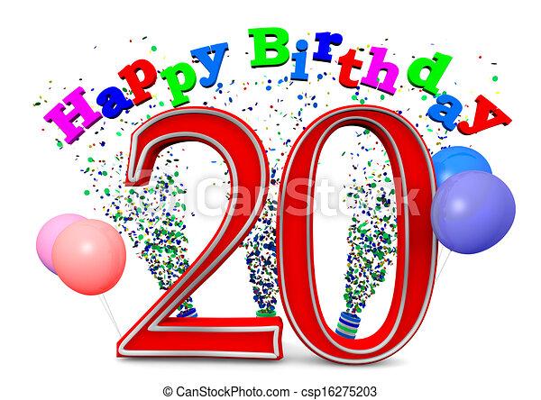 Stock Illustration Of Happy 20th Birthday Csp16275203