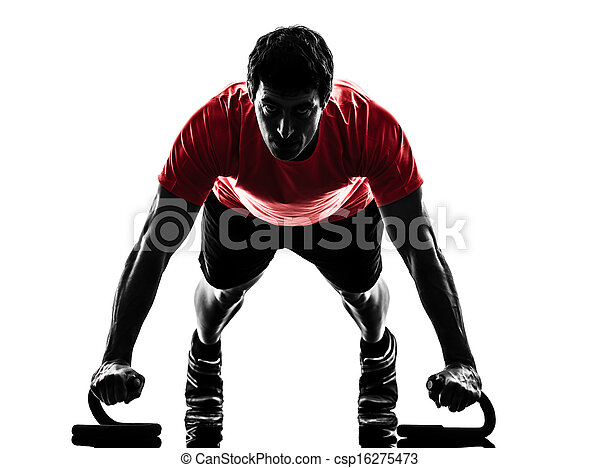 man exercising fitness workout push ups  silhouette - csp16275473
