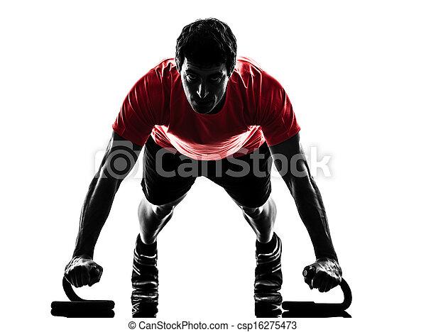 man exercising fitness workout push ups  silhouette - csp16275473