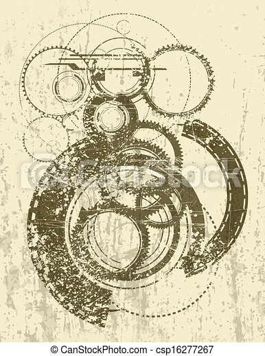 Illustration of Steampunk Background - Curious retro-style steampunk ...