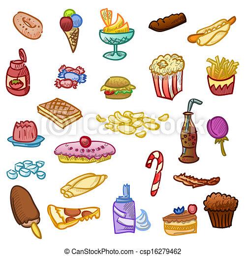 Eating Junk Foods Drawing Unhealthy Food Csp16279462