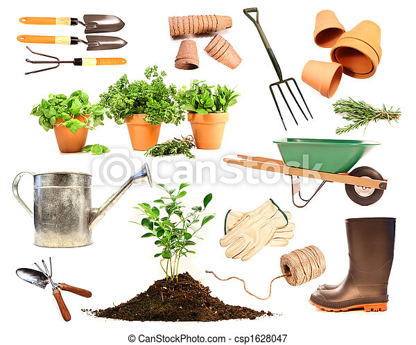 Variety of objects for spring planting on white - csp1628047
