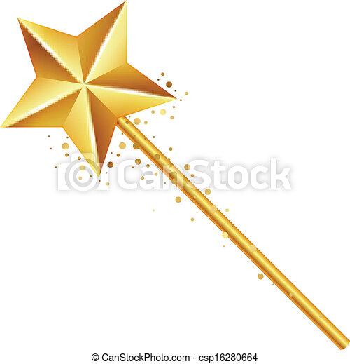 Clip Art Vector of golden magic wand - Vector illustration of ...