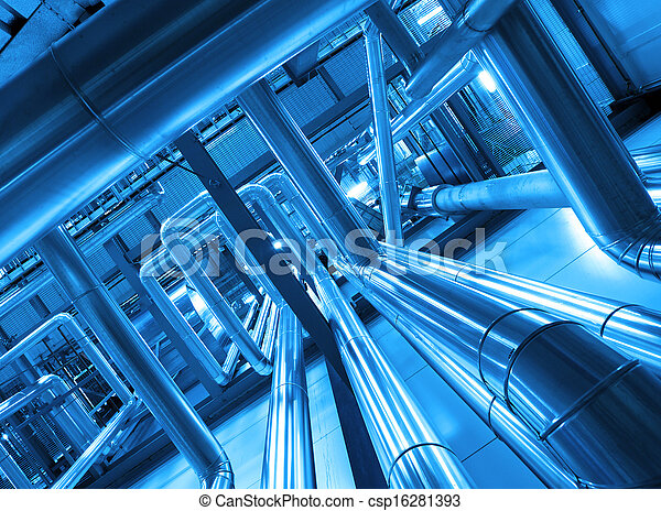 Industrial zone, Steel pipelines and cables in blue tones - csp16281393
