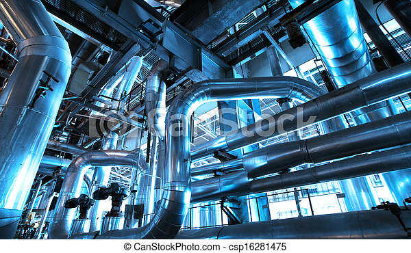 Equipment, cables and piping as found inside of  industrial power plant - csp16281475