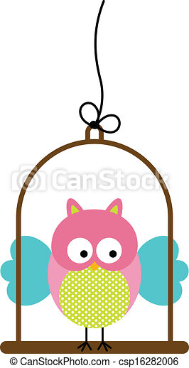Little Owl in Bird Cage - csp16282006