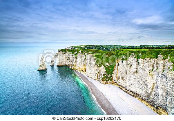 Etretat Aval cliff and rocks landmark and ocean . Normandy, France. - csp16282170