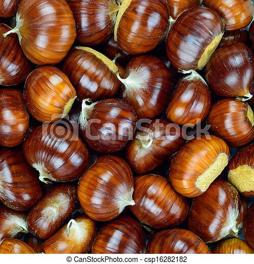Chestnut raw autumn food, pattern background texture. - csp16282182