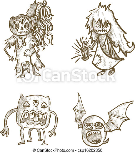 Easy Spooky Tree Drawing Halloween Monsters Isolated