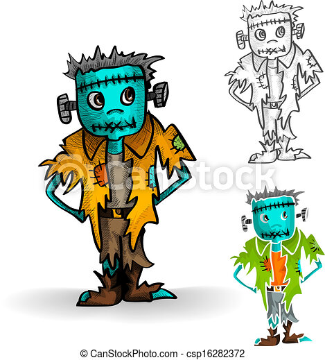 Halloween monsters isolated spooky zombie man set. - csp16282372