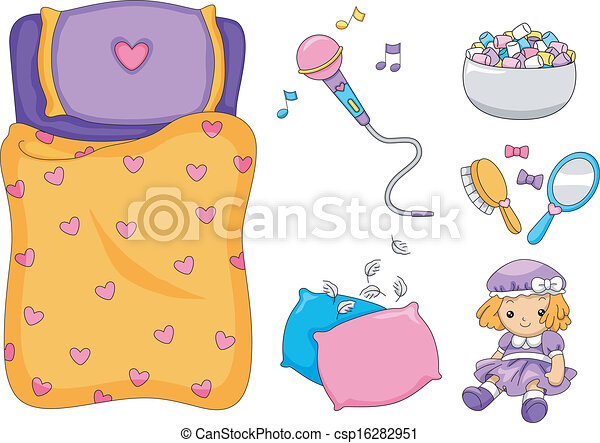 Clipart Vector of Slumber Party Elements - Illustration of Ready ...