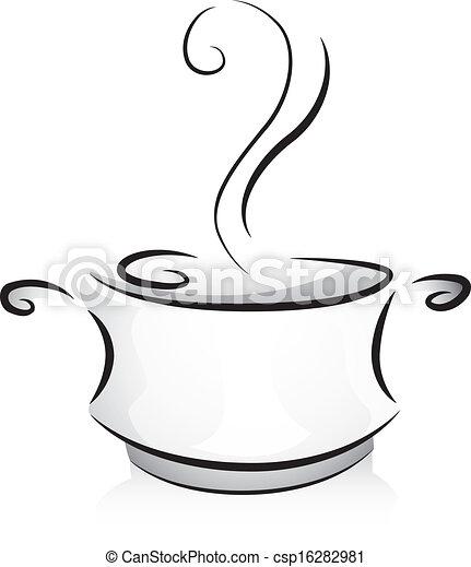 Vector de blanco negro olla negro y blanco for Hoya para cocinar